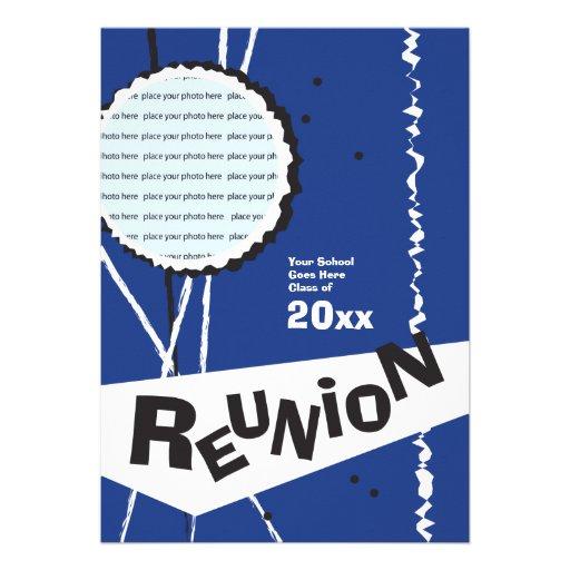 Customizable Retro Blue Class Reunion Invitation