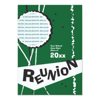 Customizable Retro Green Class Reunion Invitation