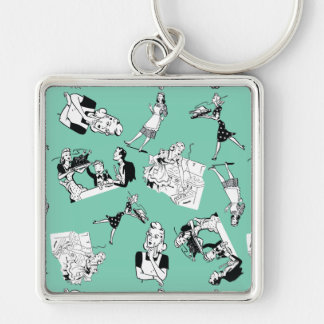 Customizable Retro Housewives Silver-Colored Square Key Ring