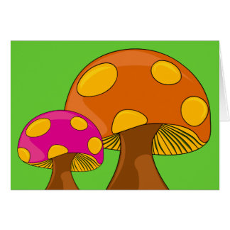 Customizable Retro Mushrooms Note Card
