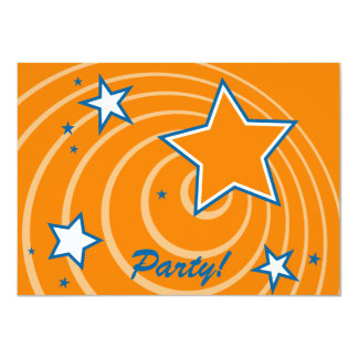 Customizable retro stars and circles party card