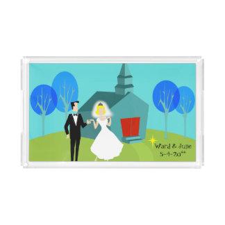 Customizable Retro Wedding Couple Serving Tray