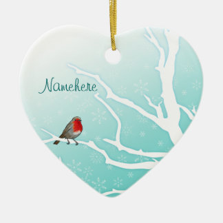 Customizable: Robin in a tree Christmas Ornament
