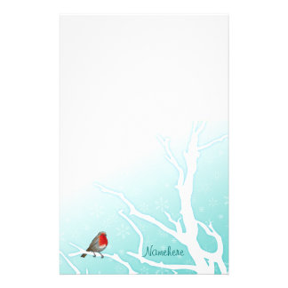 Customizable: Robin in a tree Stationery