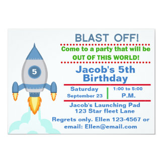 Customizable Rocket Ship Birthday party invitation