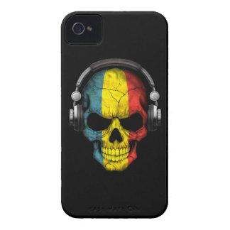 Customizable Romanian Dj Skull with Headphones iPhone 4 Cases