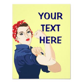 Customizable Rosie Riveter 11 Cm X 14 Cm Invitation Card