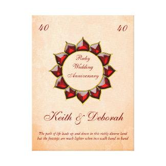 Customizable Ruby Wedding Anniversary Canvas Print