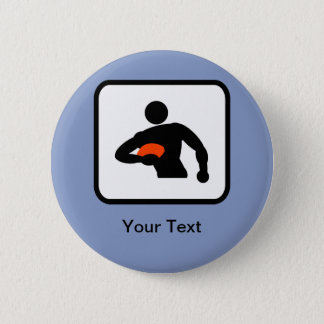Customizable Rugby Player Logo 6 Cm Round Badge