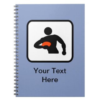 Customizable Rugby Player Logo Notebook