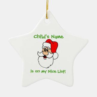 Customizable Santa's Nice List Star Ornament