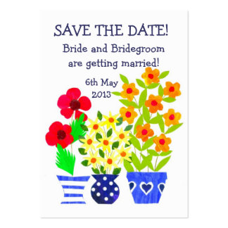Customizable Save the Date Card Pots of Flowers Business Card