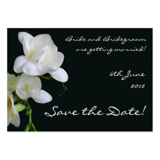 Customizable Save the Date Card, White Freesias Pack Of Chubby Business Cards