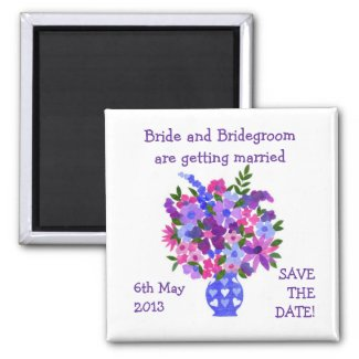 Customizable Save the Date Magnet, Bouquet