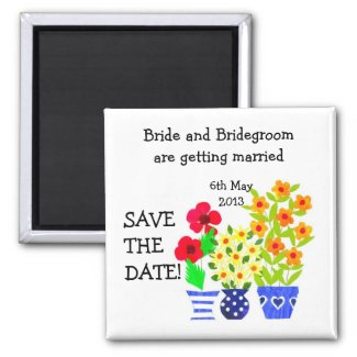 Customizable Save the Date Magnet, Flower Pots