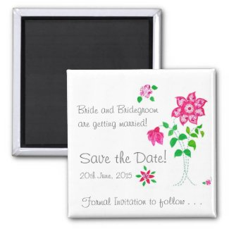 Customizable Save the Date Magnet Pink Flowers