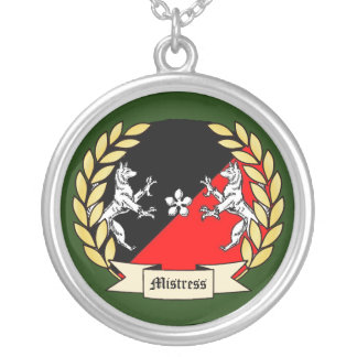 Customizable SCA Laurel Necklace- Green Round Pendant Necklace