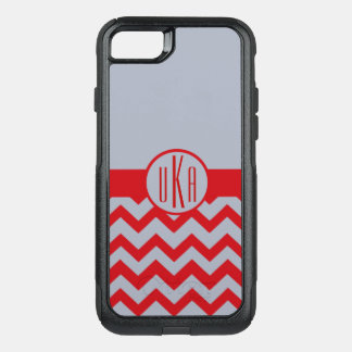 Customizable Scarlet and Gray Monogram OtterBox Commuter iPhone 8/7 Case