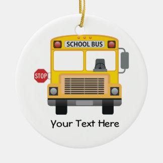 Customizable School Bus Round Ceramic Decoration