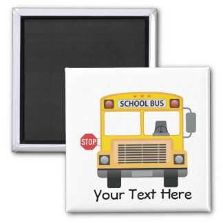 Customizable School Bus Square Magnet