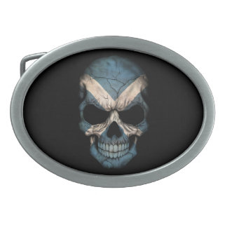 Customizable Scottish Flag Skull Oval Belt Buckle