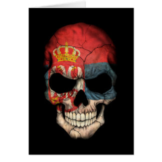 Customizable Serbian Flag Skull Card