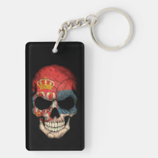 Customizable Serbian Flag Skull Key Ring