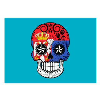 Customizable Serbian Flag Sugar Skull with Roses Business Card