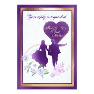 Customizable Shades of Lavender Wedding RSVP Card 9 Cm X 13 Cm Invitation Card