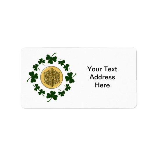 CUSTOMIZABLE!  Shamrocks - Gold Irish Celtic Address Label