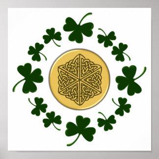 CUSTOMIZABLE!  Shamrocks - Gold Irish Celtic Print