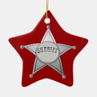 Customizable Sheriff Badge Star Officer Design Christmas Ornament