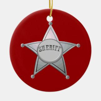 Customizable Sheriff Badge Star Officer Design Round Ceramic Decoration