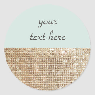 Customizable Shimmering Gold Sequins Sticker