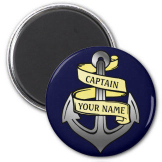 Customizable Ship Captain Your Name Anchor 6 Cm Round Magnet