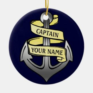 Customizable Ship Captain Your Name Anchor Christmas Ornament