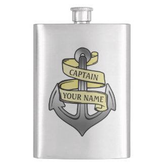Customizable Ship Captain Your Name Anchor Hip Flask