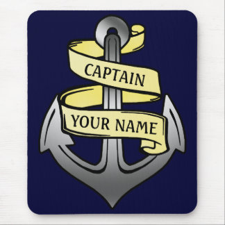 Customizable Ship Captain Your Name Anchor Mouse Pad