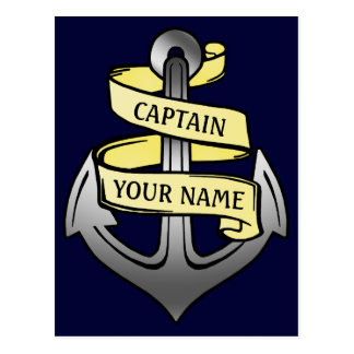 Customizable Ship Captain Your Name Anchor Postcard