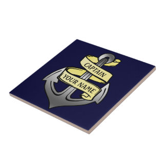 Customizable Ship Captain Your Name Anchor Tile