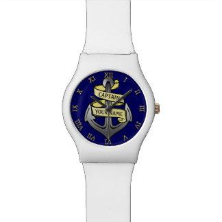 Customizable Ship Captain Your Name Anchor Wristwatches