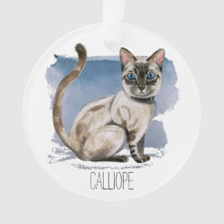 Customizable Siamese Kitten Watercolor Painting Ornament