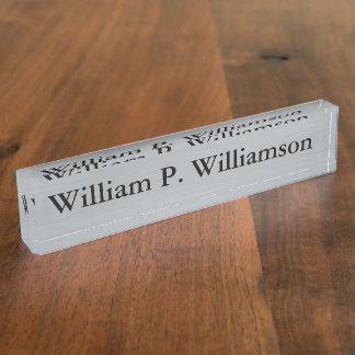 Customizable Silver Background Desk Nameplates