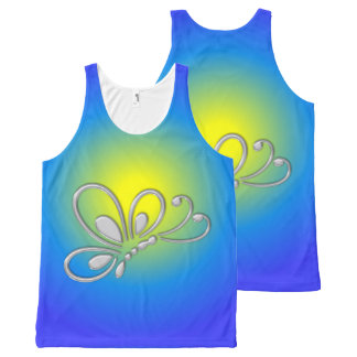Customizable Silver Butterfly Profile Blue Sunset All-Over Print Tank Top