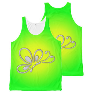 Customizable Silver Butterfly Profile Green Sunset All-Over Print Tank Top