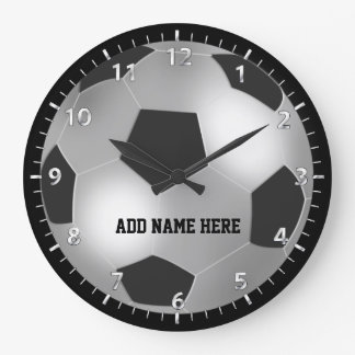 Customizable Silver Soccer Ball Large Clock