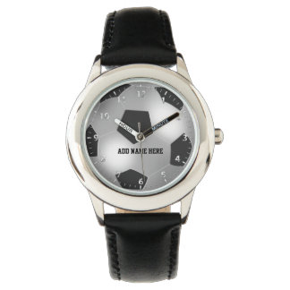 Customizable Silver Soccer Ball Wrist Watches