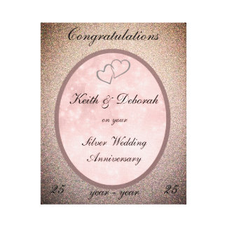 Customizable Silver Wedding Anniversary Canvas Print