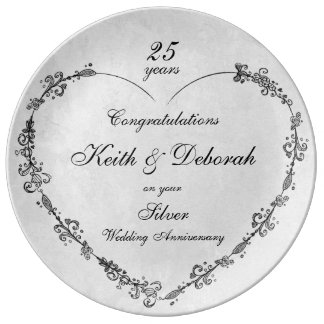 Customizable Silver Wedding Anniversary Plate