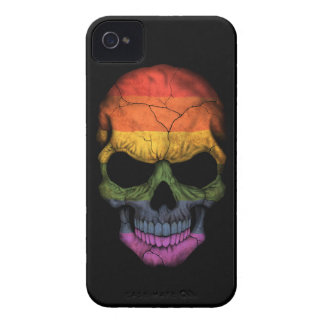 Customizable Skull with Gay Pride Rainbow Flag iPhone 4 Case